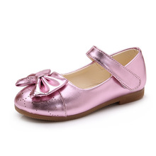 Купить с кэшбэком Kids Girls Bowknot Wedding Party dress shoes Girl's princess shoes Fashion shoes for Wedding Party Dance girls Leather Shoes