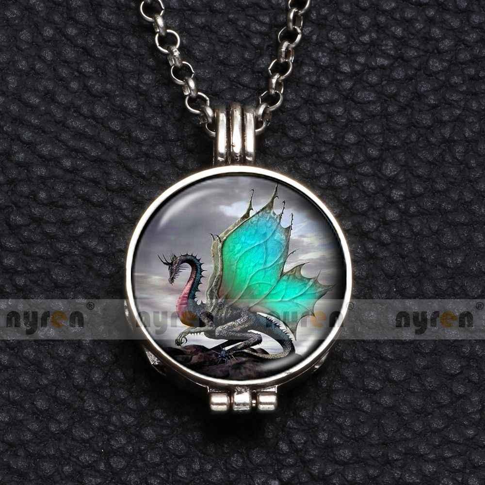 Мульти Дракон узор духи ароматическая подвеска ожерелье с пеной 25 мм стекло колечко с подвеской цепь 62 см длина мульти шаблон DZ1758