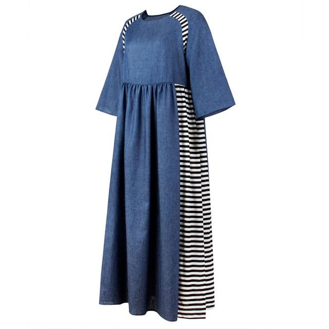Women fashion Striped Denim Long Dresses Islamic Muslim Middle East Half Sleeve Abaya Long Gowns Plus size LooseA0410 1