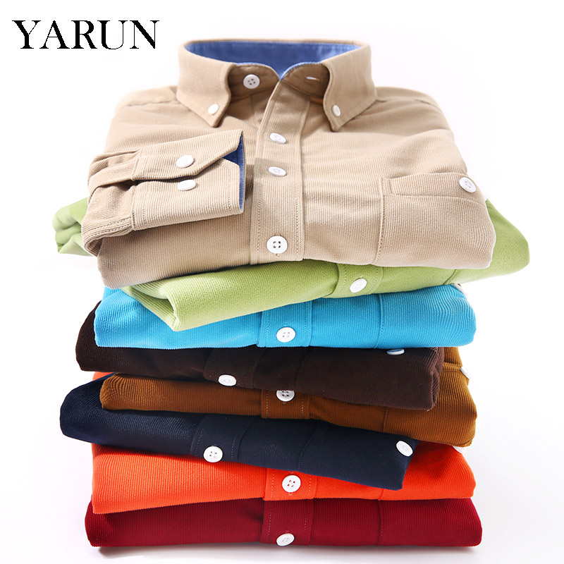 Autumn and winter new men s corduroy long sleeved shirt youth fashion Slim shirt