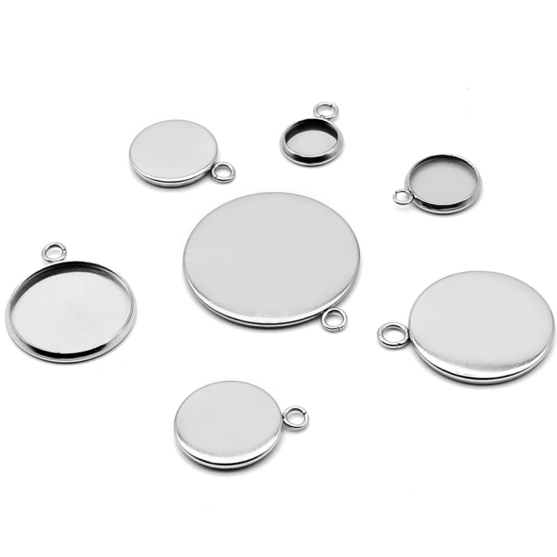 20pcs 8/10/12/20mm Stainless Steel Smooth Circle Round Pendant Blank Jewelry With Bezel Setting Tray Cameo Cabochons Wholesale