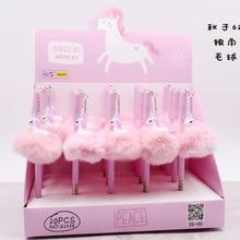 20-100pcs cute wool alpaca hair ball pendant gel pen unicorn 0.5 flamingo black water gift signature