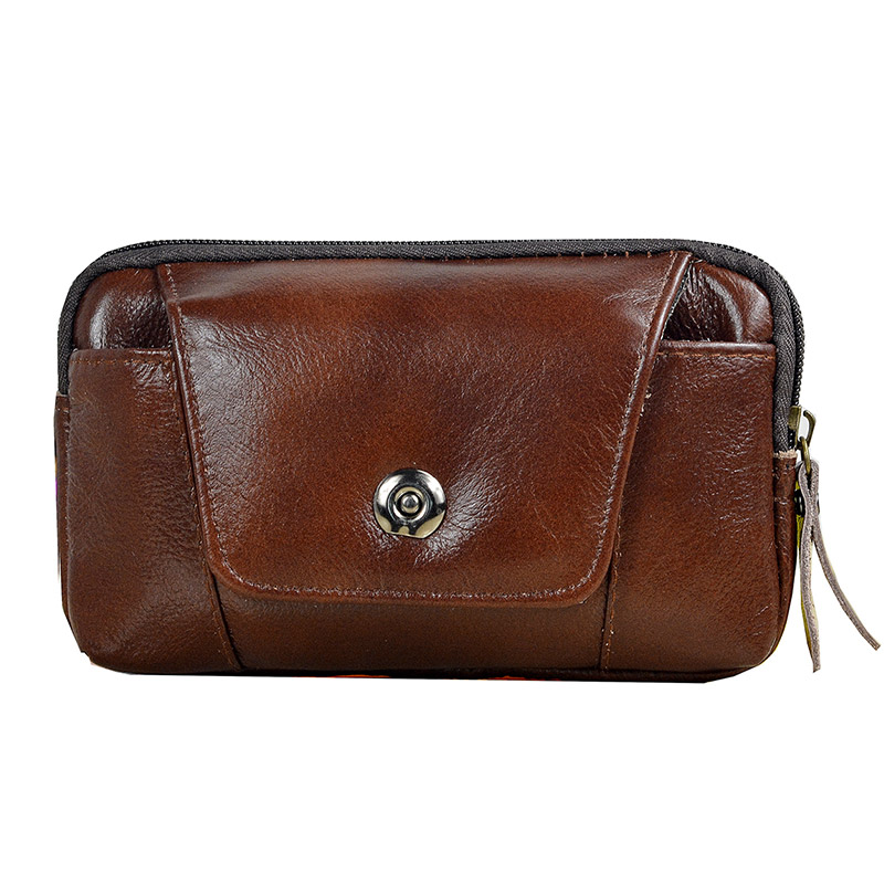 Brown Genuine Leather Waist Pack Hip Bum Zipper Phone Bag Wallet Fanny Belt Bag 5' To 6' Cell/Mobile Phone Case For Iphone