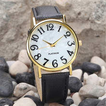 2017 2017 1pc white black color Women Retro numerals Dial Leather Band Quartz Analog Wrist Watch Watches MAY10