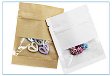 Wholesale 100pcs/lot Small Brown/White Paper Clear Window Zipper Bag Eco-friendly Hanging Paper Gift Bag Resealable Package Bags(China)