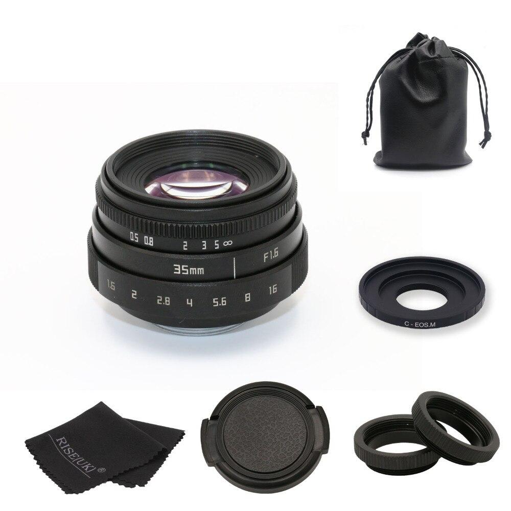 Nouveau FUJIAN 35mm f1.6 C monture CCTV caméra objectif II + C monture adaptateur anneau + Macro pour Canon EOSM EF-M sans miroir livraison gratuite
