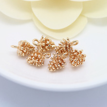 6PCS 8x12MM 24K Champagne Gold Color Plated Brass Small Pinecone Charms High Quality Diy Jewelry Accessories