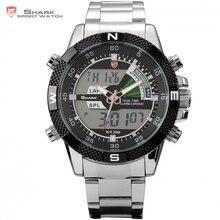 El marrajo sardinero acero SHARK reloj deportivo Negro Doble Hora Analógico Eigital LCD fecha Parada Alarma Acero Inoxidable Movimiento de Cuarzo Relojes de Hombres / SH047