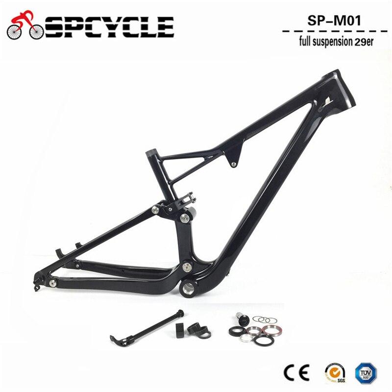Spcycle T1000 Carbon Full Suspension Frame 29er Carbon MTB Frame Mountain Bike Carbon Frames BSA Thru