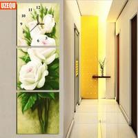 Three Pictures Diamond Mosaic 5D DIY Wall Clock Diamond Painting Cross Stitch Peony Flower Watch Diamond