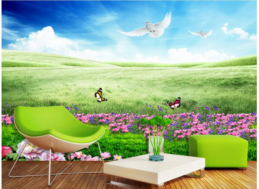 Custom photo Non-woven mural 3d wallpapers for living room The butterfly flowers grass painting 3d wall murals wallpaper custom photo wallpaper 3d wall murals balloon shell seagull wallpapers landscape murals wall paper for living room 3d wall mural