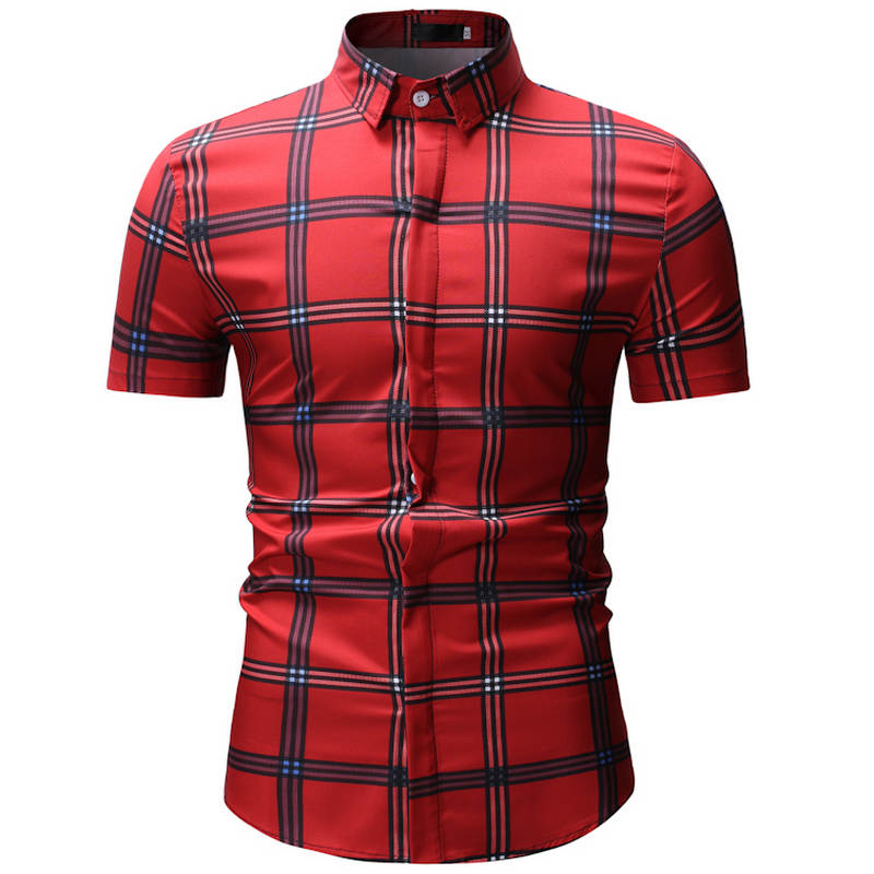 22e2887c1593 Loldeal Men's Casual Collared Checked Short Sleeve Plaid Button Down Dress  Shirt