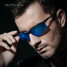 VEITHDIA Brand Aluminum Magnesium Polarized Mens Sunglasses Sun glasses Night Blue/red Mirror Male Oculos Eyewear For Men 6502