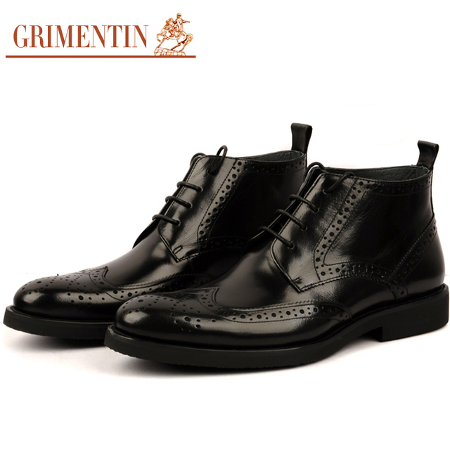 GRIMENTIN Men Boots Genuine Leather Italian Vintage Wingtip Carved Round Toe Lace Up Dress Booties bo998