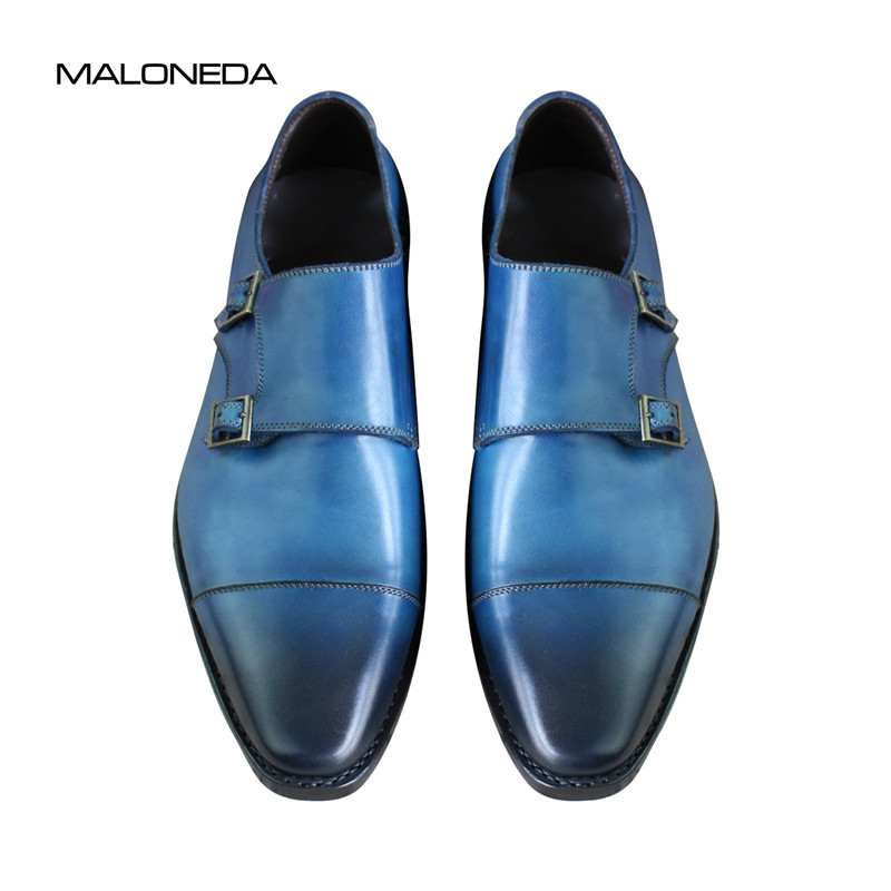 Bespoke Goodyear Welted Blue Genuine Leather Double Buckles Monk - Zapatos de hombre - foto 2