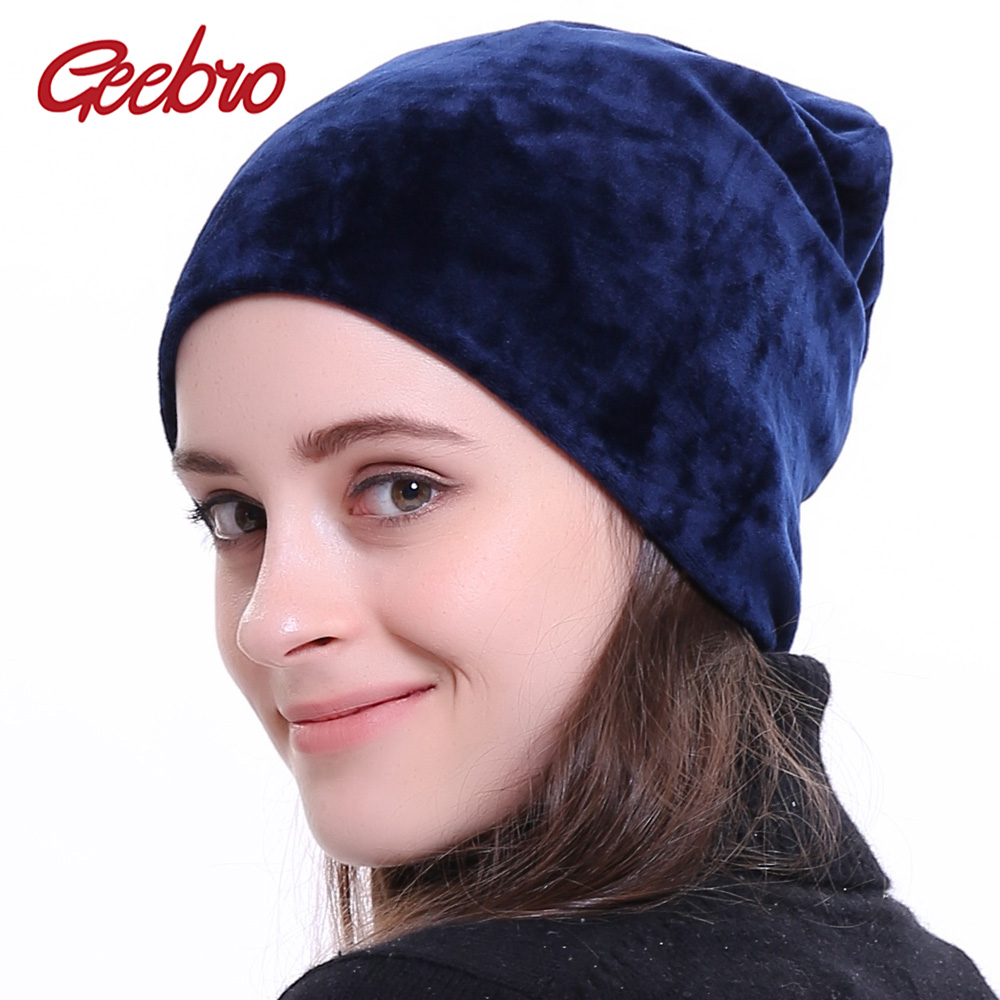 Geebro Women's Velour   Beanie   Hat Winter Polyester Soft Warm Slouchy   Beanie   for Women Ladies Velvet Balavaca   Skullies   Hats JS277M
