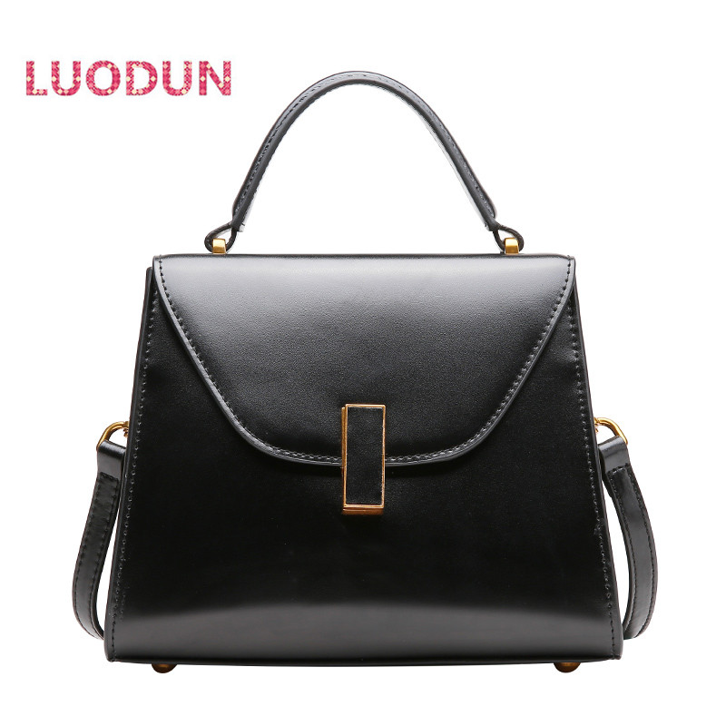 LUODUN Spring and summer leather handbags shoulder messenger bag handbag female new retro simple wild bag summer bag 2018 new round package personality retro handbag imported leather messenger bag female shoulder bag leather handbags