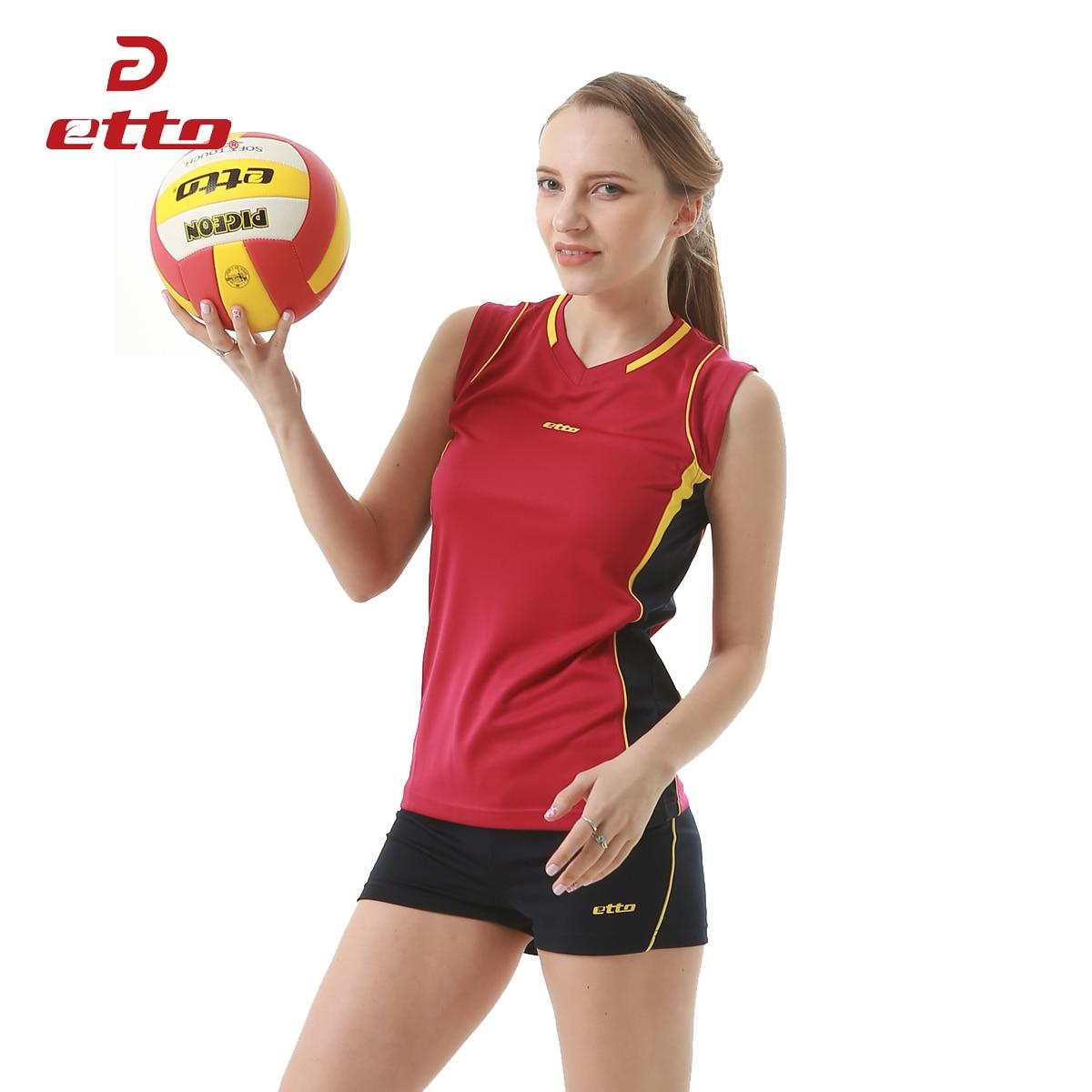 Etto 2018 New Professional Women Volleyball Jerseys Uniforms Sportwear Suit Female Volleyball Sleeveless Training Kits HXB008
