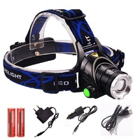 Rechargeable Headlights Stretch Fishing Head Light 2000LM Zoom T6 Head Lamp LED Headlamp 2 18650battery 1