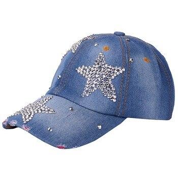 Women's adjustable five-pointed star baseball cap ladies fashion casual rhinestone denim baseball mesh hat casquette femme 6