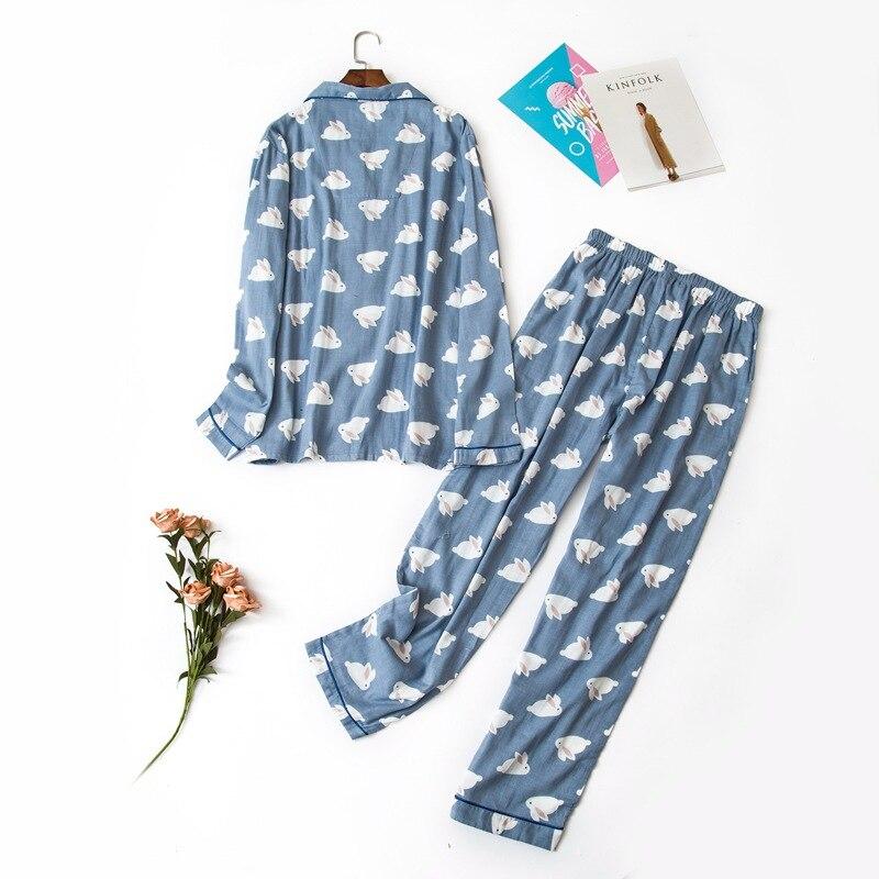 Image 2 - Female cute rabbit 100% cotton pajamas sets sexy gauze cotton pink plus size pyjamas women sleepwear sexi pijamas feminino-in Pajama Sets from Underwear & Sleepwears