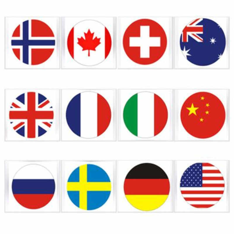 Coche redondo estilo 36x36mm Metal Suiza Rusia Francia Alemania Italia Canadá USA bandera pegatina de calavera emblema 1 unids/lote