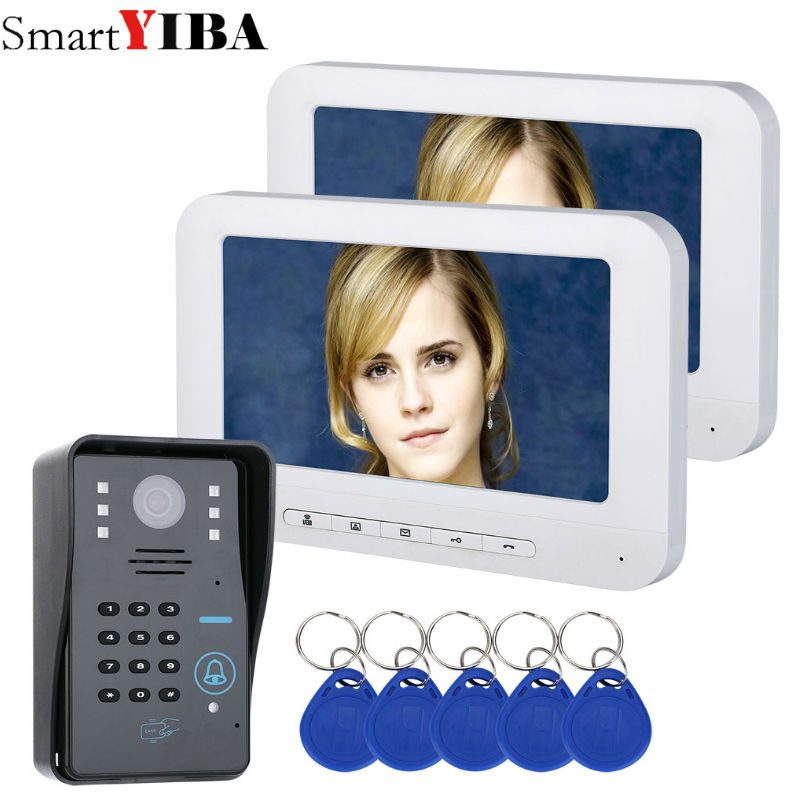 SmartYIBA Password RFID Access Control 7''Inch Wired Video Door Phone System Visual Video Intercom Doorbell 2 Monitor 1 Camera