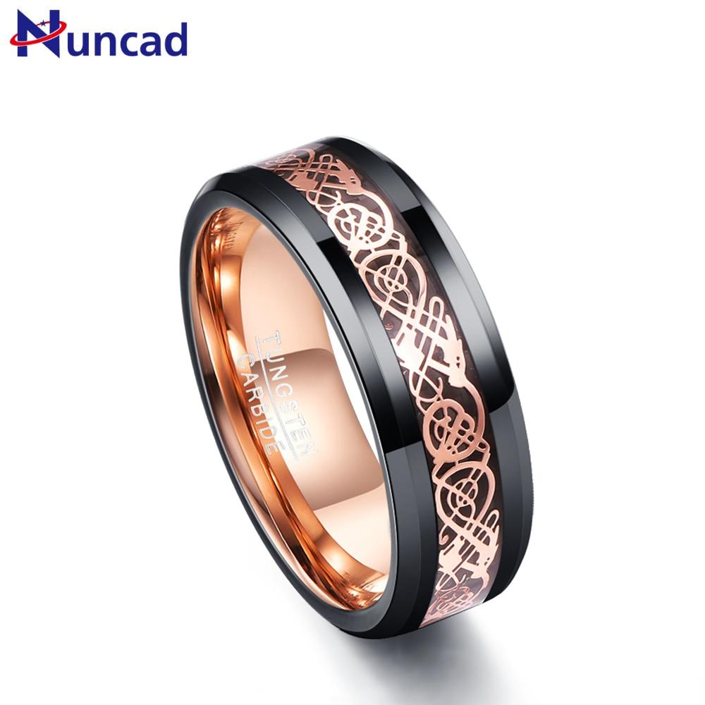 8mm Tungsten Carbide Black Carbon Fiber Men/'s Engagement Wedding Band Ring 7-12