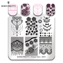 ФОТО born pretty lace series nail stamping plate flower yarn square template nail art stamp plate