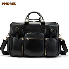PNDME business first layer cowhide Mens briefcase large capacity genuine leather office bag computer travel for