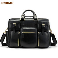 PNDME business first layer cowhide Men's briefcase large capacity genuine leather office bag computer bag travel bag for Men's