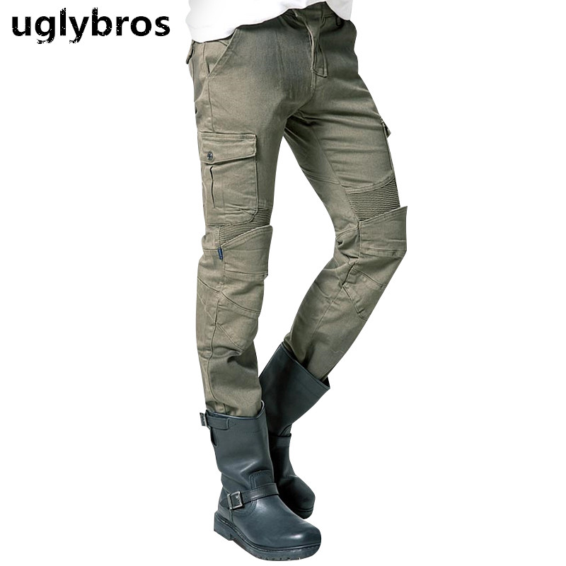 Army green uglybros MOTORPOOL UBS06 jeans mens motorcycle jeans pants protection equipment moto pants racing pants
