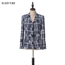 2019 Spring autumn Runway Designer Tweed Womens Jacket Coats Tassel Plaid Slim Female Coat Long Sleeve Office Outerwear