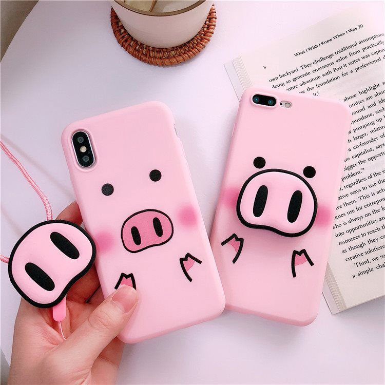 For <font><b>iPhone</b></font> Xs Max XR Case <font><b>3D</b></font> Pink Pig Nose Holder Soft Phone Strap Rope Silicone Cover For <font><b>iPhone</b></font> 5 <font><b>5s</b></font> SE 6 6s Plus 7 8 8Plus X image