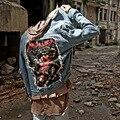 Уличная негабаритных Tide бренд улица патч отверстия мужская куртка Патч Проекты Ripped Омывается Мужчины джинсовая куртка BigBang прилив
