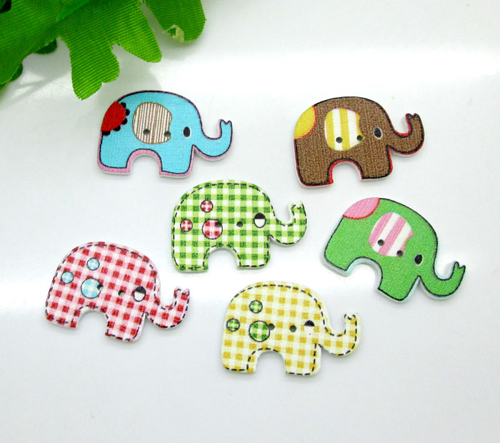 Scrapbooking Wooden Elephant Wood pattern Sewing Buttons DIY Cards Frames