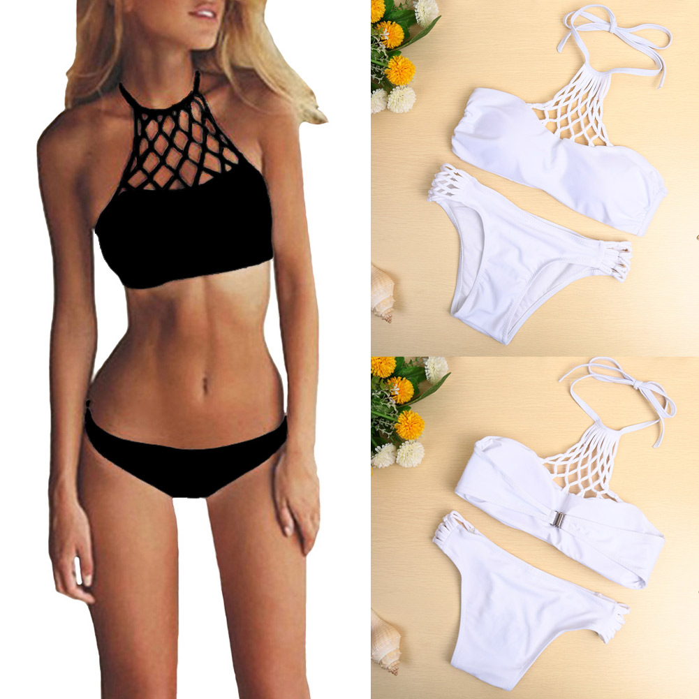 New Outdoor Sexy Women Bikini Set Swimwear Halter Criss Cross Push Up Swimsuit White/Black 2017 Spring Summer Beach Style