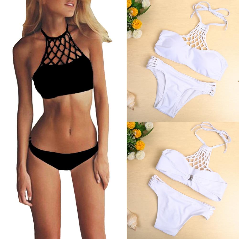 New Outdoor Sexy Women Bikini Set Swimwear Halter Criss Cross Push Up Swimsuit White/Black 2017 Spring Summer Beach Style