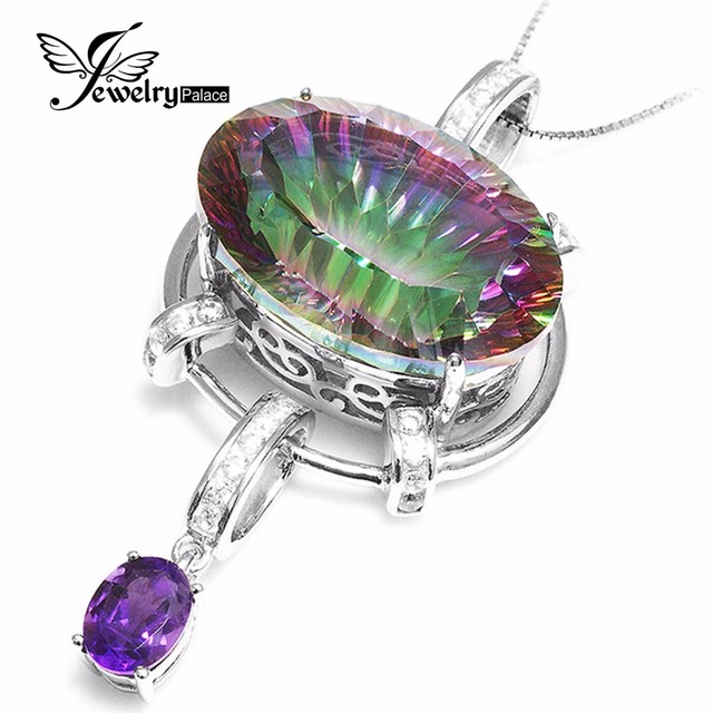 HUGE 39ct Genuine Natural Amethyst Rainbow Fire Mystic Topaz Pendant Solid Real 925 Sterling Silver Fashion Women Jewelry 2015