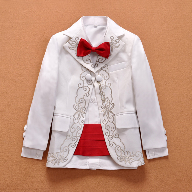 Boys Flat Collar Suit Hand Made Embroidery Baby Boys Suits For Wedding Kids  Prom Blazers Children fe8124cf5348