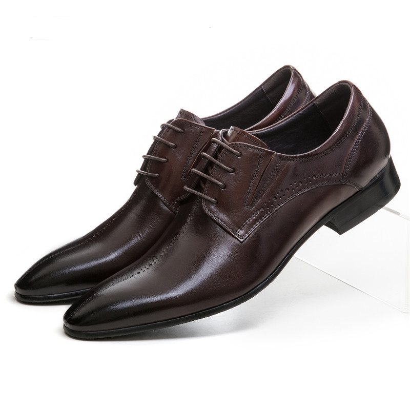 Здесь можно купить  Fashion Brown / black pointed toe dress shoes mens formal shoes genuine leather mens business shoes   Обувь