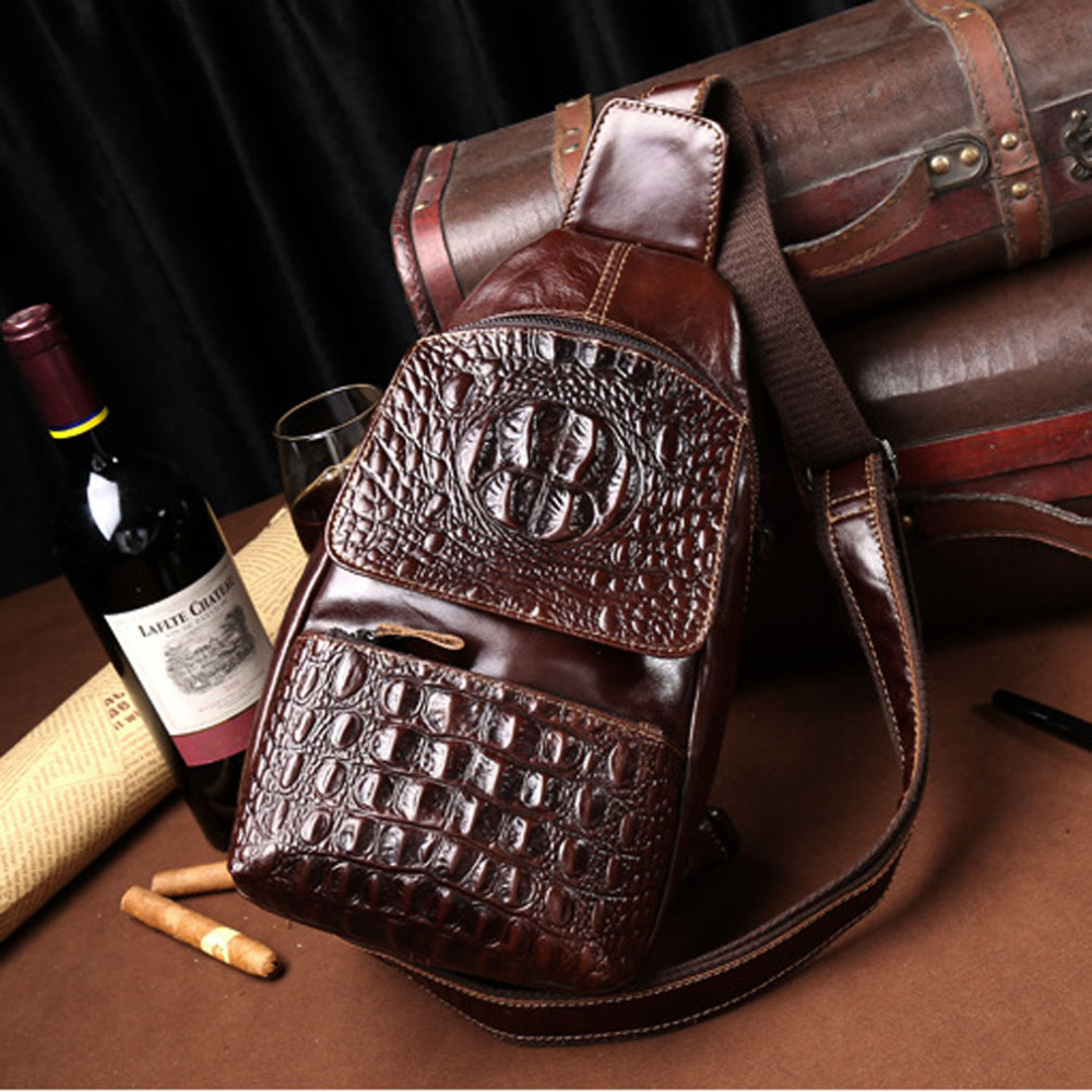 2018 New Vintage Men Oil Wax Genuine Leather Cowhide Crocodile Sling Chest Bag Travel Shoulder Cross Body Messenger Pack цена и фото