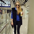 Women V Neck Slim Long Faux Fur Vest 2016 Fashion Solid Color Sleeveless Casual Winter Coat & Jacket For Female Elegant Outwear