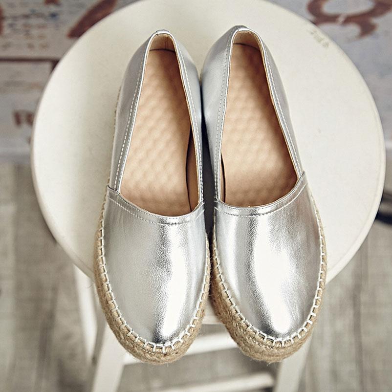 ФОТО 2016 Women Famous Genuine Leather Shoes Woman brand Loafers Woman Platform Flat Shoe Silver Gold Espadrilles Women Famous