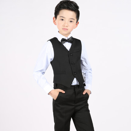 (Vest+shirt+bow tie+pants) Boy Clothes Suit Kid 4 Pcs B lackWaistcoat Children Spring & Autumn Formal Clothing Set For Wedding spring autumn fashion children clothes full sleeve t shirt and pants 2pcs handsome gentleman suit boy clothing set kid tracksuit