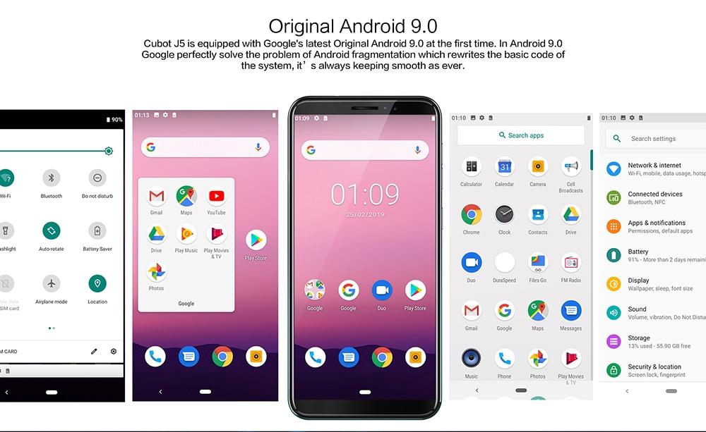 "HTB1wCE7M9zqK1RjSZFjq6zlCFXaw Cubot J5 Smartphone Android 9.0 Telephone 5.5"" 18:9 Full Screen MT6580 Quad-Core 2GB RAM 16GB ROM Phone Dual SIM Card 2800mAh 3G"