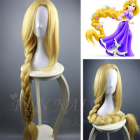 Tangled Rapunzel 120cm Long Light Golden Braid Styled Central Part Synthetic Hair Party Cosplay Full Wigs+Wig Cap