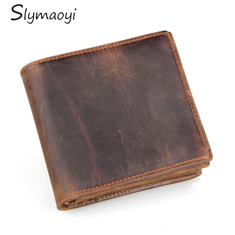 100% Genuine Leather Wallet Men Purse Crazy Horse Wallets Vintage Top Quality Leather Wallet Carteira Male Men Card & ID Holder baellerry small mens wallets vintage dull polish short dollar price male cards purse mini leather men wallet carteira masculina