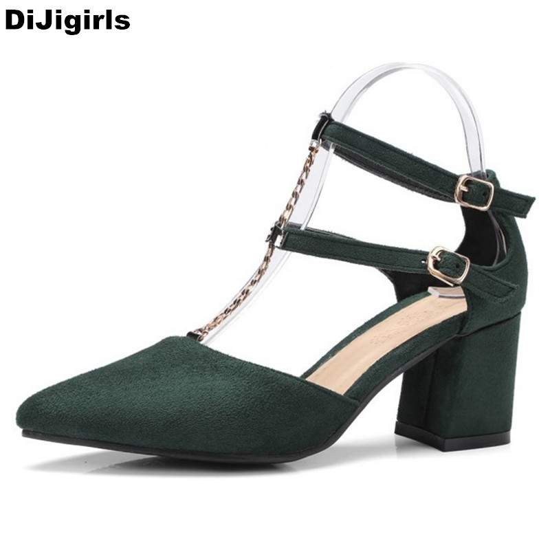 Fashion Pointed Toe Chains High Heels Summer Women Shoes Plus Size Thick Heel T-Strap Ladies Shoes Green Pumps new 2017 spring summer women shoes pointed toe high quality brand fashion womens flats ladies plus size 41 sweet flock t179