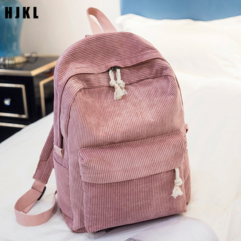 HJKL  Preppy Style Soft Fabric Backpack Female Corduroy Design Girls Striped Women School For Teenage